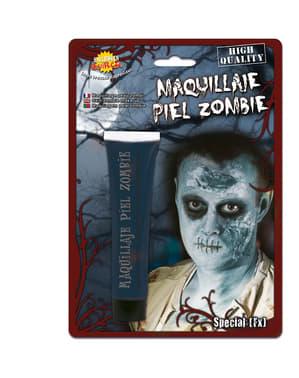 Maquillage peau de zombie bleu