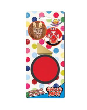 Maquillage rouge avec éponge
