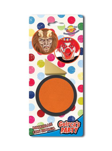 Maquillaje color naranja con esponja