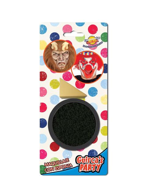 Black make-up with sponge