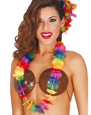Collier hawaïen multicolore femme