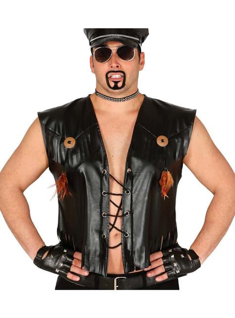 Black leather waistcoat.