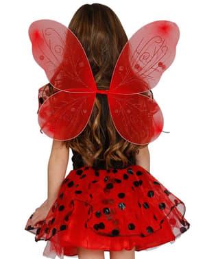 Ali da farfalla rossa bambina