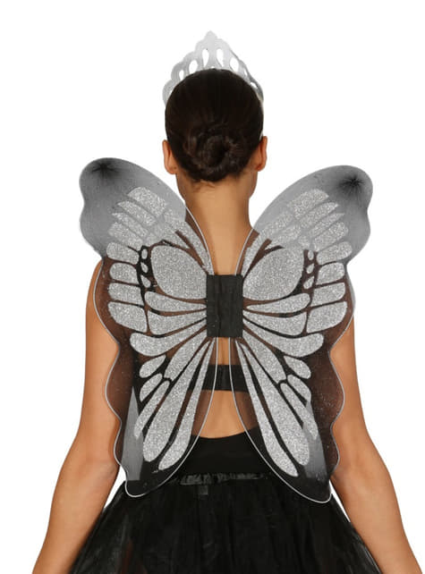 Womens silver butterfly wings