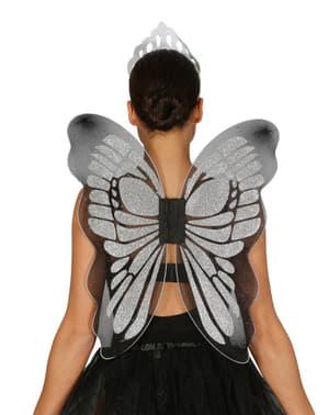 Skrzydla motyla srebrne damskie