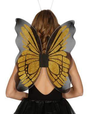 Asas de borboleta douradas para mulher