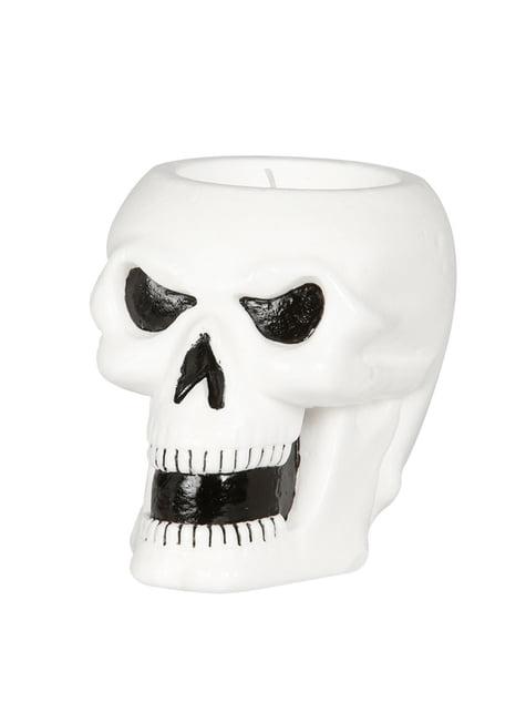 Bougie tête de morte blanche halloween