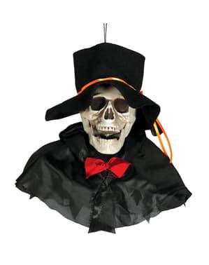 Pingente decorativo caveira com chapéu