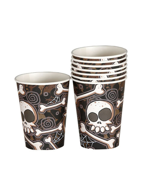 8 vasos de Halloween esqueletos