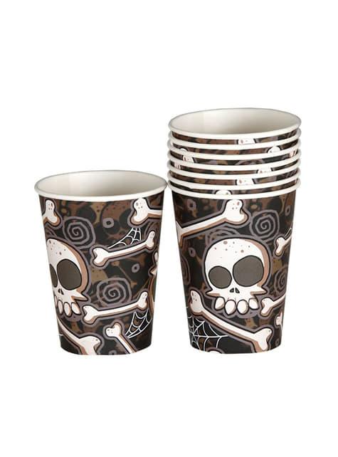 Conjunto de 8 copos de Halloween esqueletos