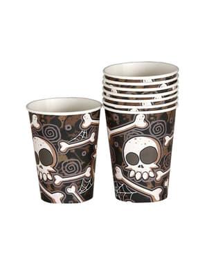 8 Halloween glas med skeletter