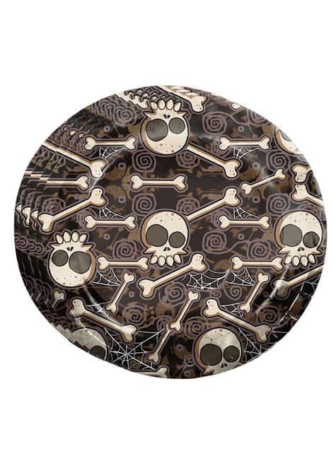 8 pratos de Halloween esqueletos (23 cm)