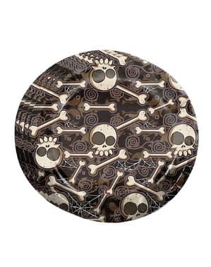 8 Teller mit Halloween Skelett Motiv (23 cm)