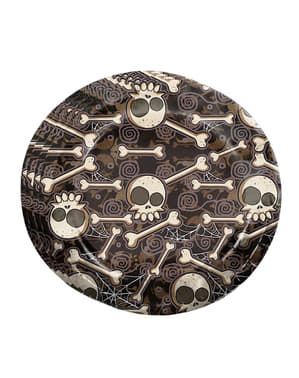8 Halloween skeleton plates (23 cm)