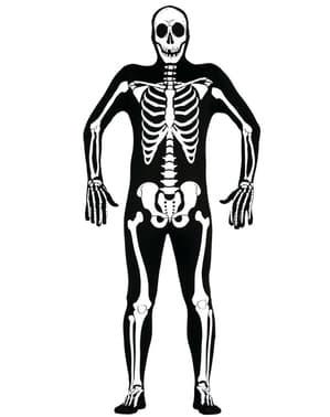 Tætsiddende skeletkostume til mænd