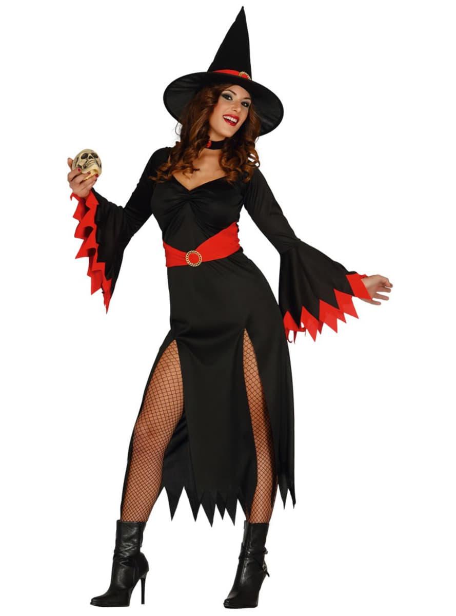 Fato de bruxa sexy vermelha para mulher be6c35db49079