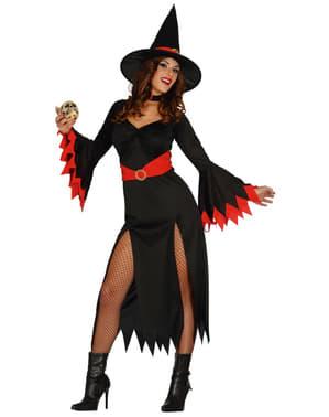 Fato de bruxa sexy vermelha para mulher