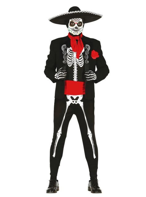 Fato de esqueleto dia dos mortos mexicano para homem