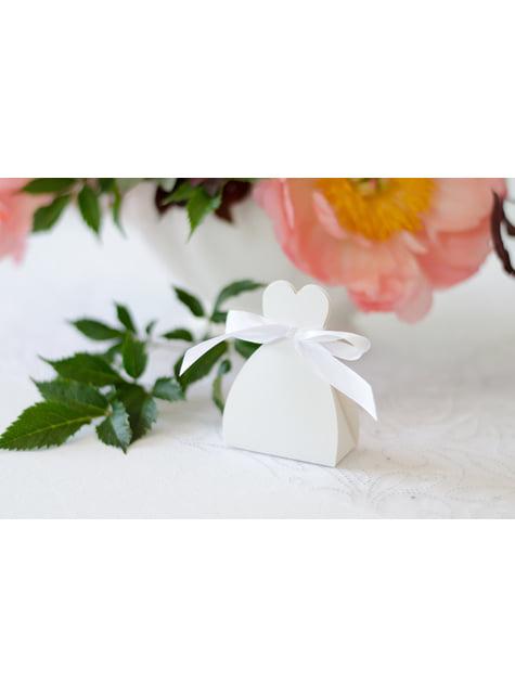 10 scatole regalo bianche con sagoma di abito da sposa