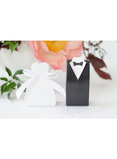 10 boîtes cadeaux blanches avec silhouette de la mariée