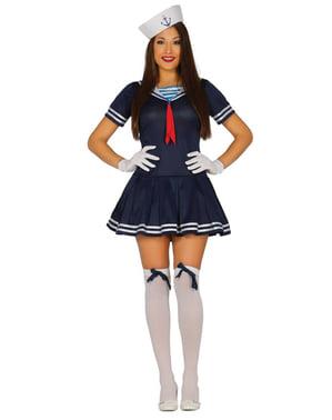 Син дамски костюм на моряк
