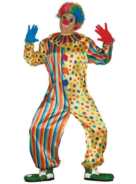 Disfraz de payaso multicolor alegre para hombre