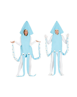 Adults blue marine squid costume
