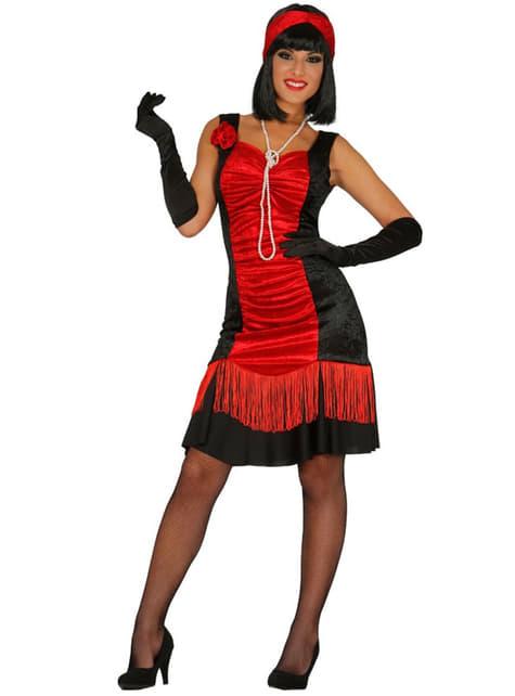 Disfraz de charlestón rojo y negro