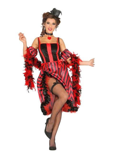 Dámský kostým na kankán černo-červený