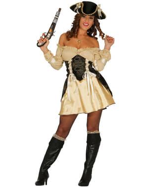Goldene Piratin Kostüm für Damen