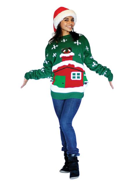 Julenissen på taket Strikket Julegenser