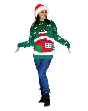 Pulover de Crăciun Santa pe acoperiș Digital Dudz