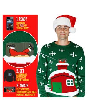 Camisola natalina santa no telhado Digital Dudz