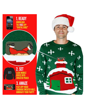 Weihnachtspullover Santa auf dem Dach Digital Dudz