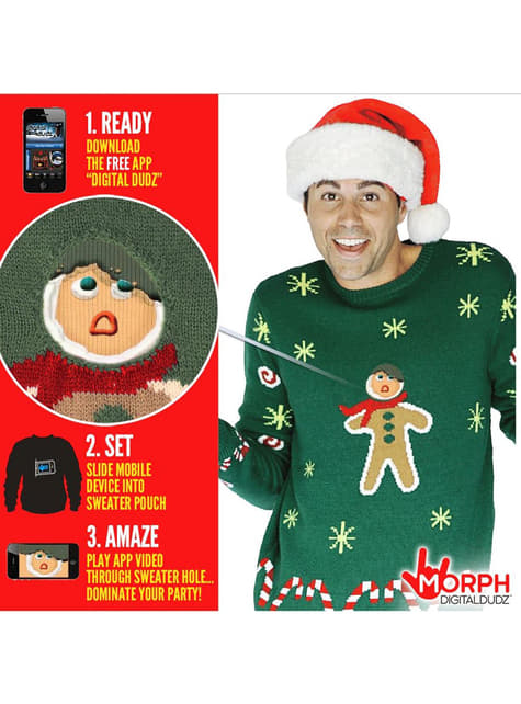 Jersey navideño de galleta de Jengibre mordida Digital Dudz - hombre