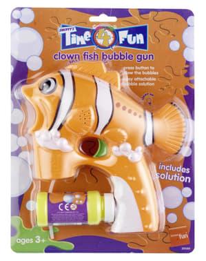 Pistola a forma di pesce pagliaccio para bolle di sapone