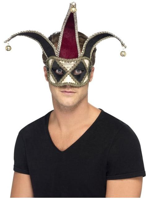 Máscara de Arlequim veneziano gótico para homem