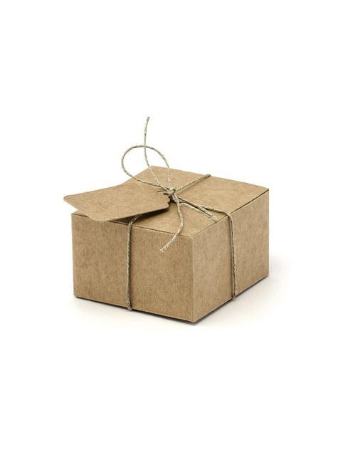 10 cajas de regalo cuadradas con etiqueta - Rustic Wedding - barato