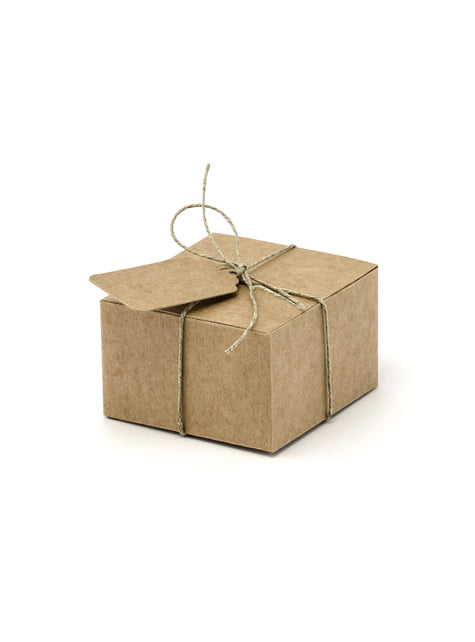10 kwadratowe pudełka na upominki z wizytówkami - Summer Time
