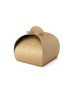 10 scatole regalo piccole quadrate di carta Kraft - Rustic Wedding