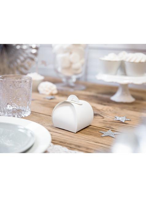 10 białe pudełka na upominki - White & Gold Wedding