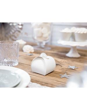 Sett med 10 gavebokser i hvit - White & Gull Wedding