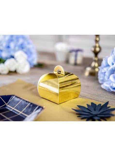 10 boîtes cadeaux dorées - White & Gold Wedding