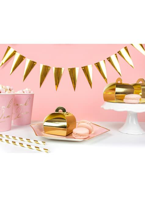 10 cajas de regalo doradas - White & Gold Wedding