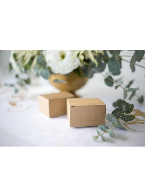 10 kwadratowe pudełka na upominki papier kraft - Rustic Wedding