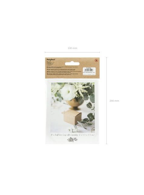 10 cajas de regalo cuadradas de papel Kraft - Rustic Wedding - para niños y adultos