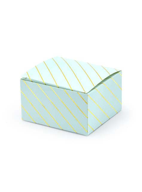 10 boîtes cadeaux bleues rayures dorées - Touch of Gold