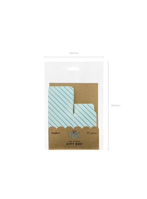 10 cajas de regalo azul con rayas doradas - Touch of Gold