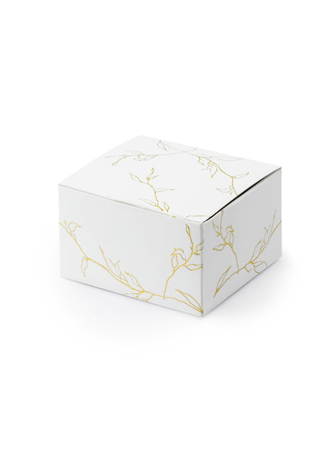 10 boîtes cadeaux blanches branches dorées