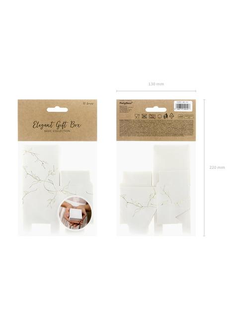 10 cajas de regalo blancas con ramas doradas - original